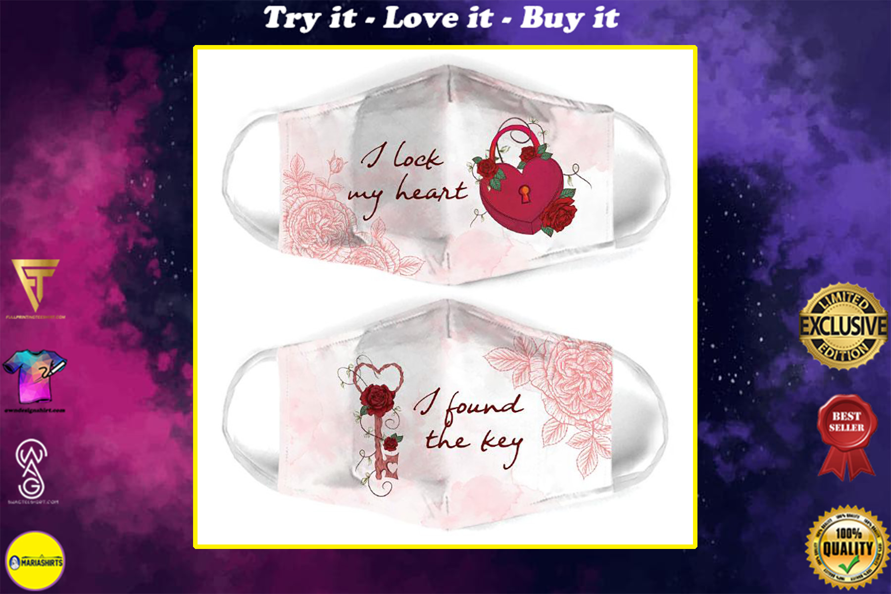 i lock my heart for couple love all over print face mask