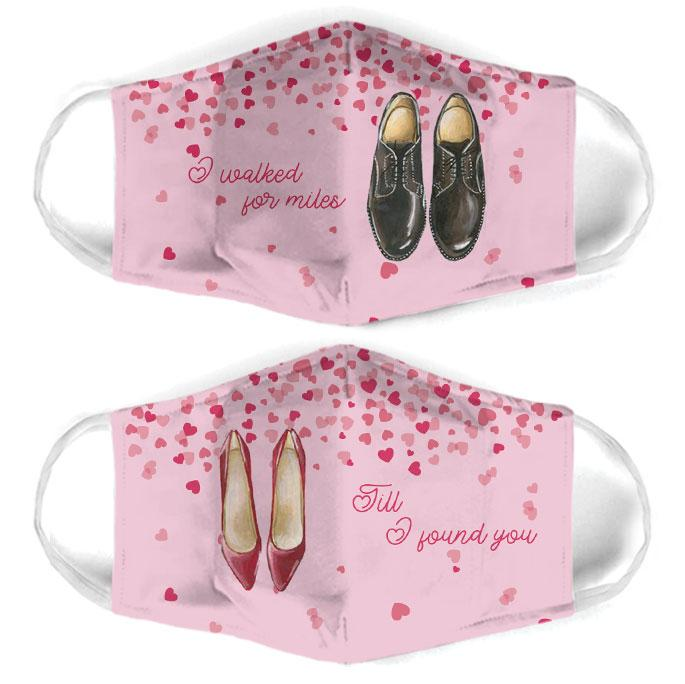 i walked for miles for couple love all over print face mask 1
