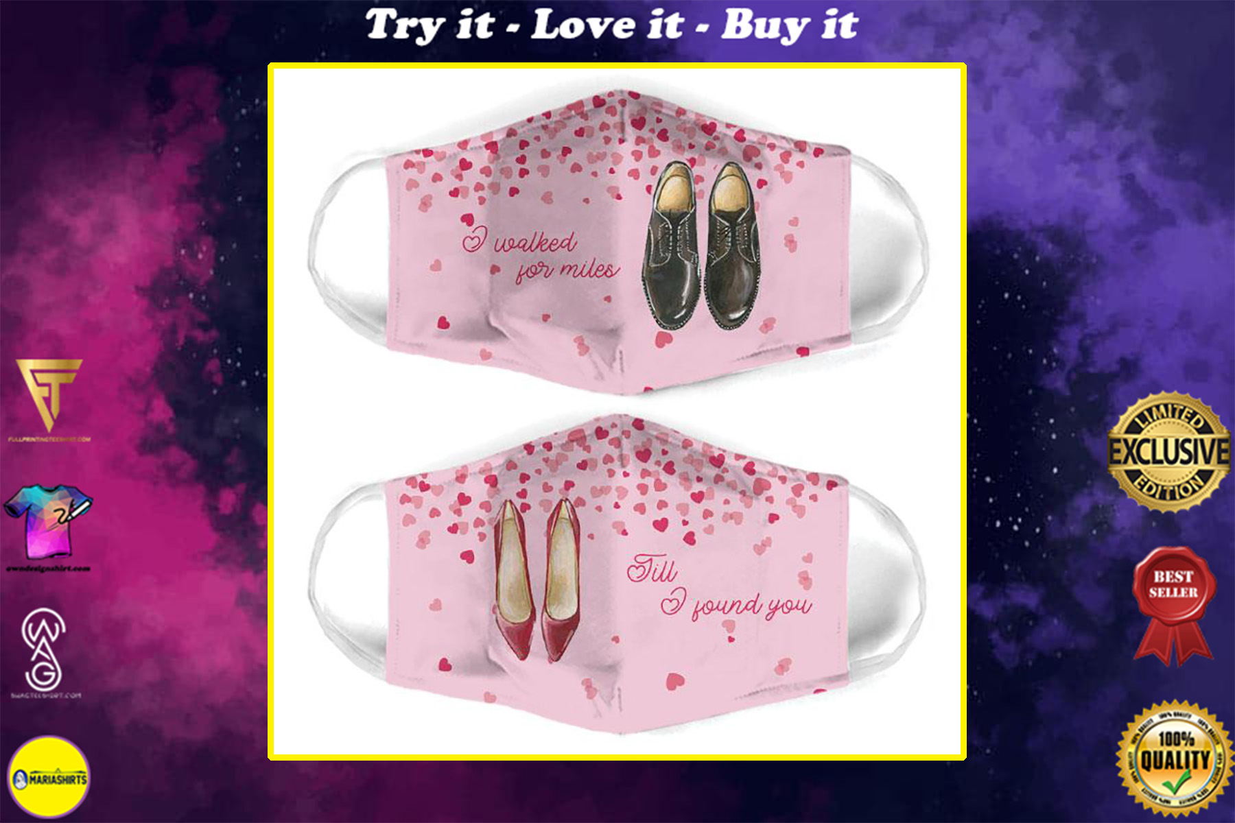 i walked for miles for couple love all over print face mask