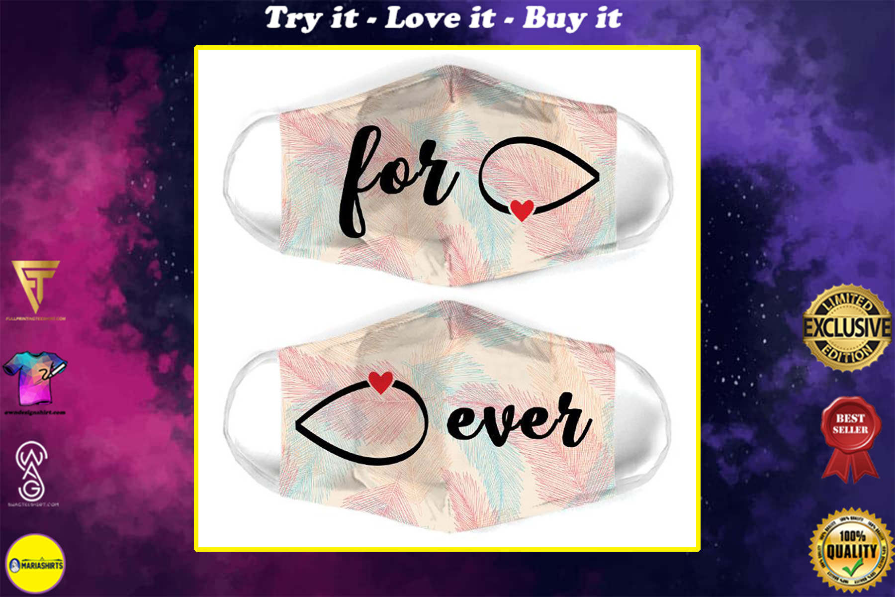 infinity symbol couple love all over print face mask
