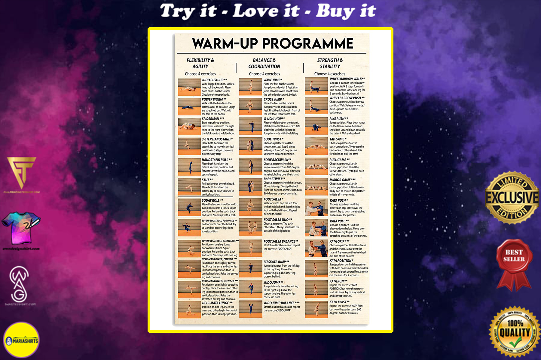 judo warm up programme poster