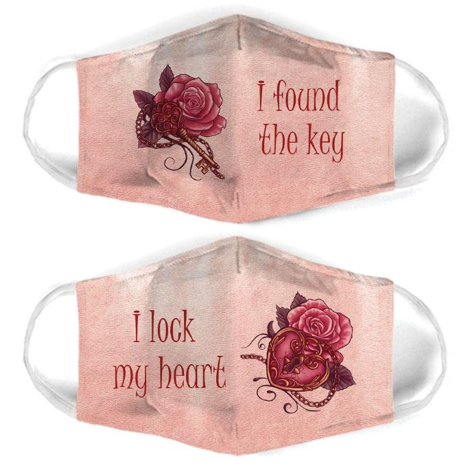 key and lock rose for couple love all over print face mask 1