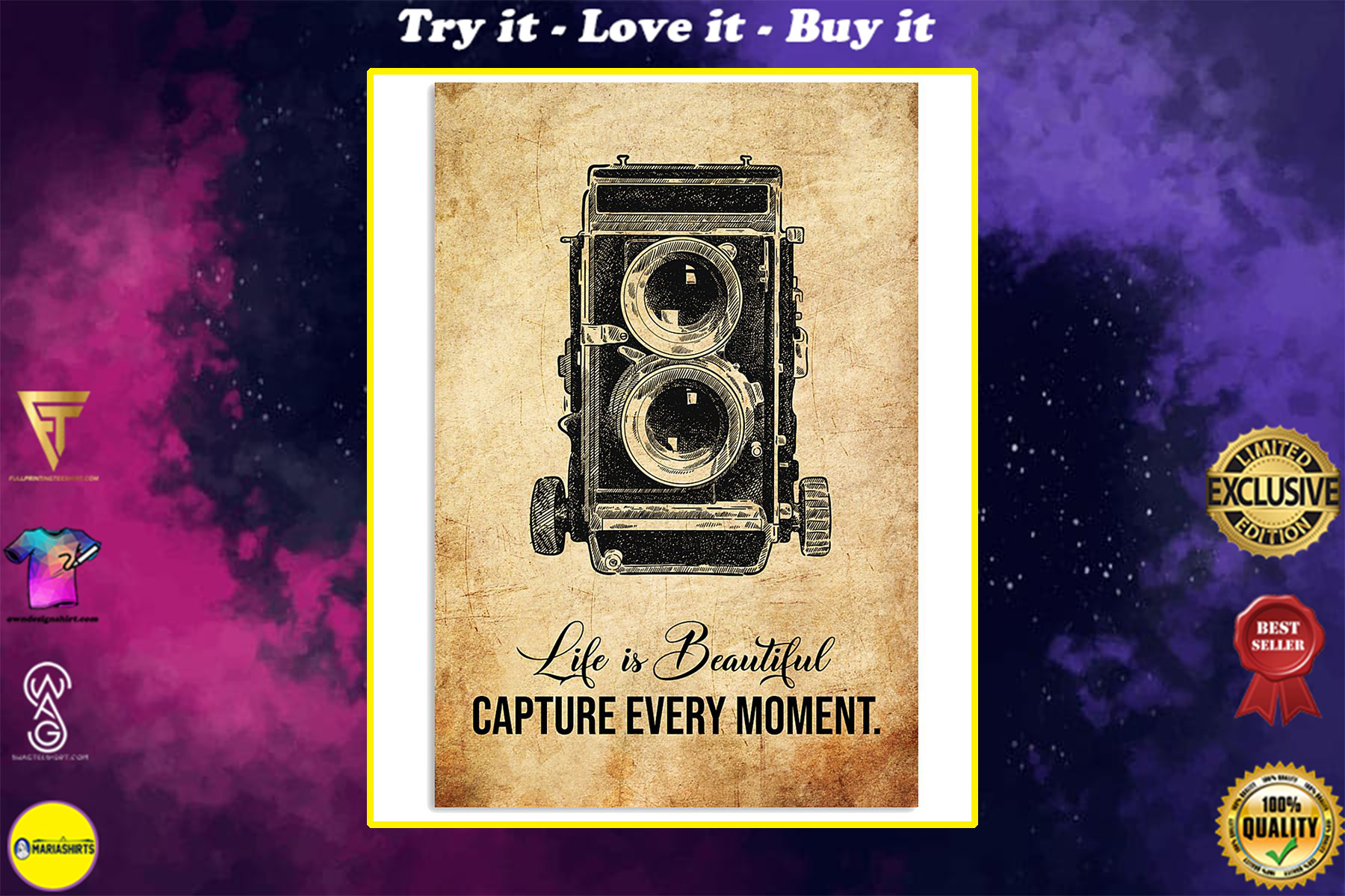 life is beautiful capture every moment photographer poster