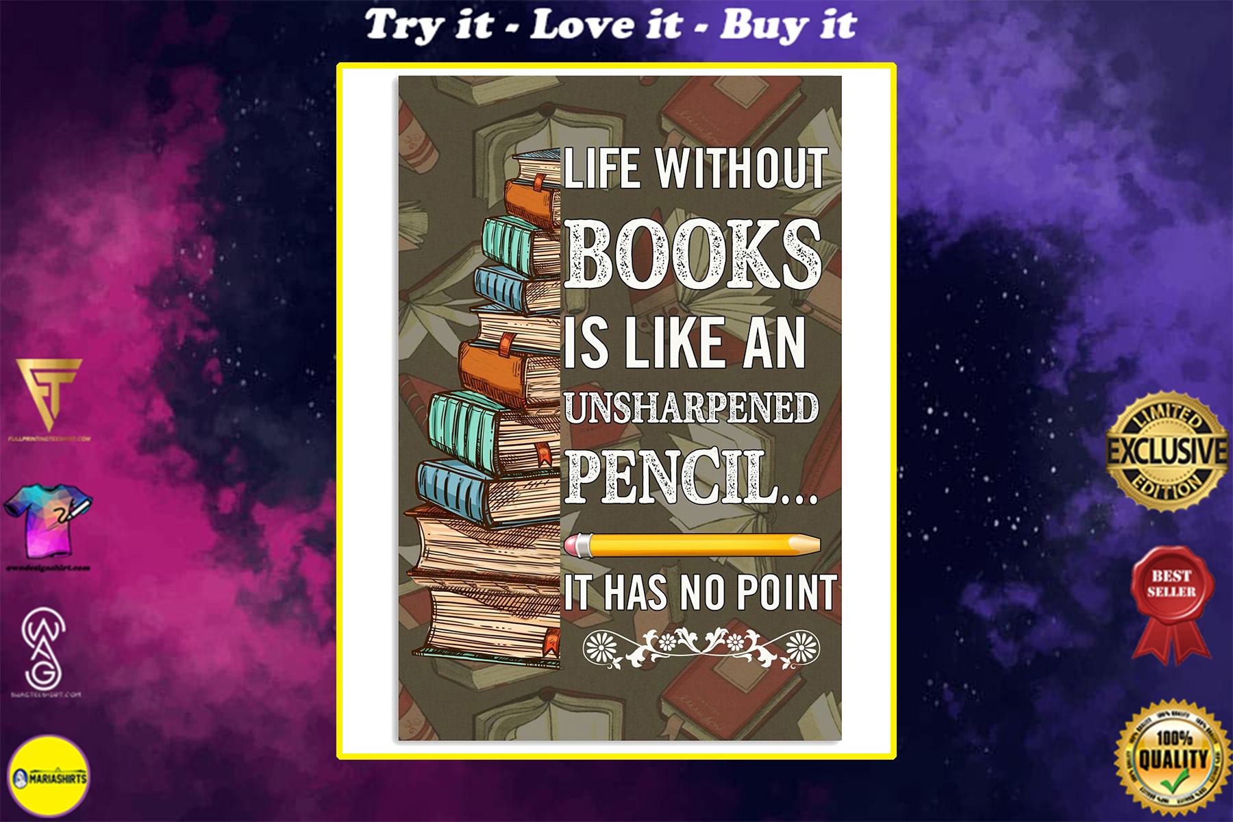 life without books is like an unsharpened pencil it has no point poster