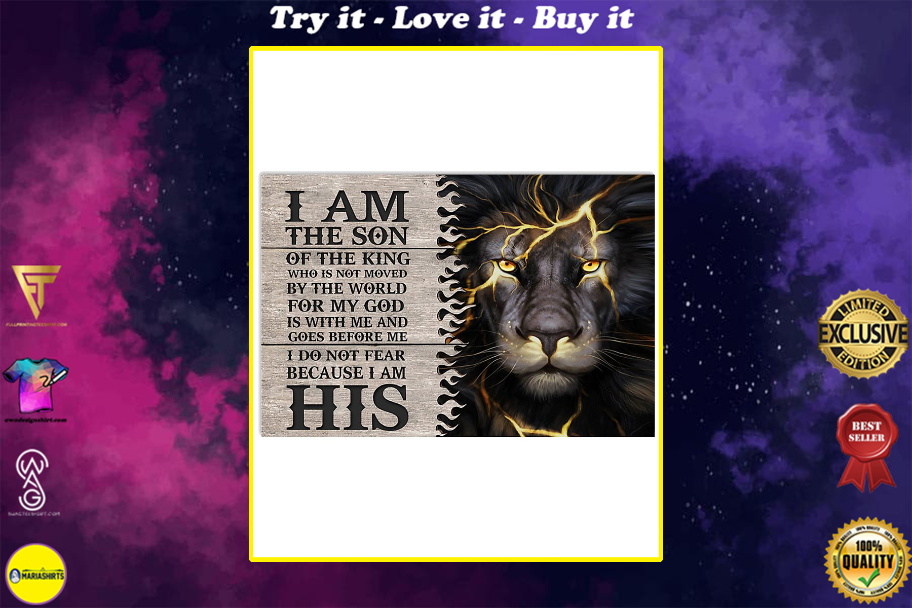 lion i am the son or a king who is not moved by the world for my God is with me poster