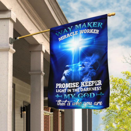 lion way maker miracle worker my God all over print flag 2