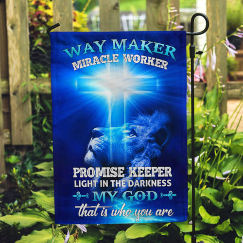 lion way maker miracle worker my God all over print flag 3