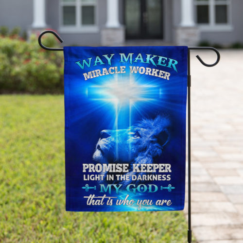 lion way maker miracle worker my God all over print flag 4