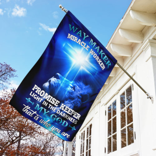 lion way maker miracle worker my God all over print flag 5