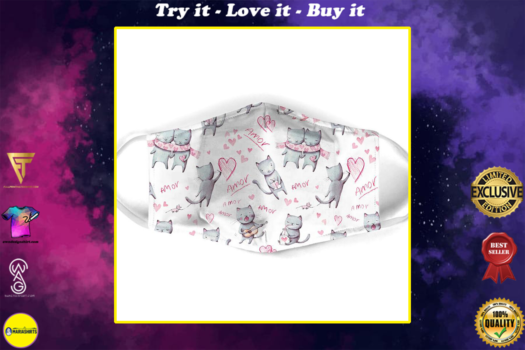 lovely couple cat all over print face mask