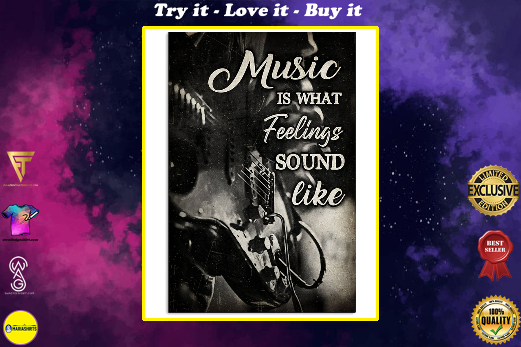 music is what feelings sound like wall art poster