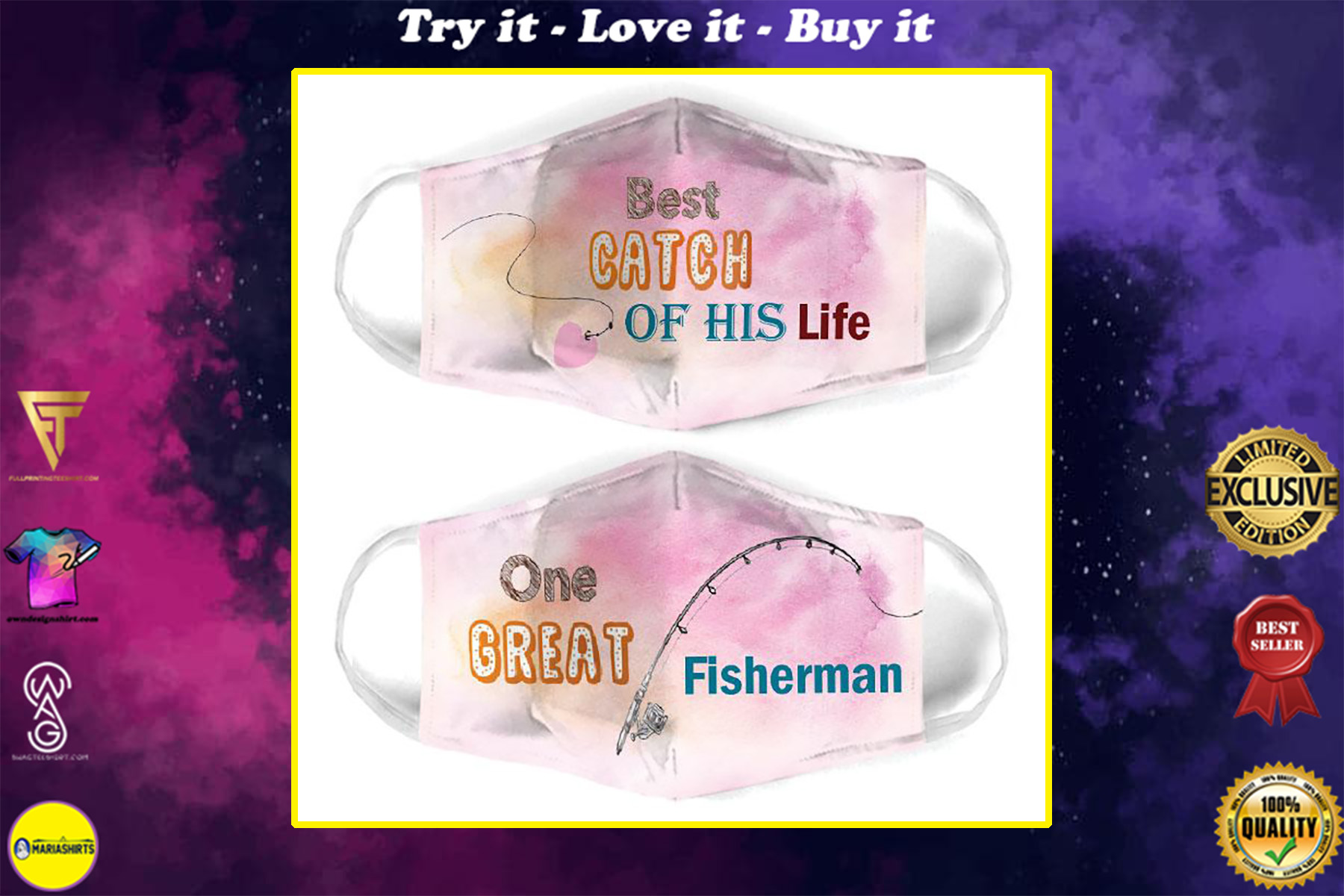 one great fisherman couple all over print face mask