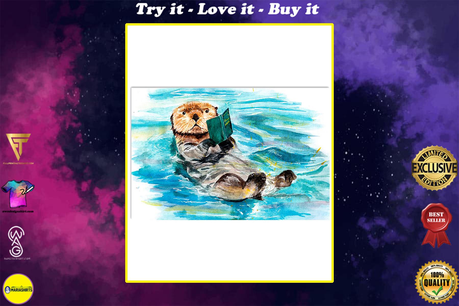 otter reading books poster