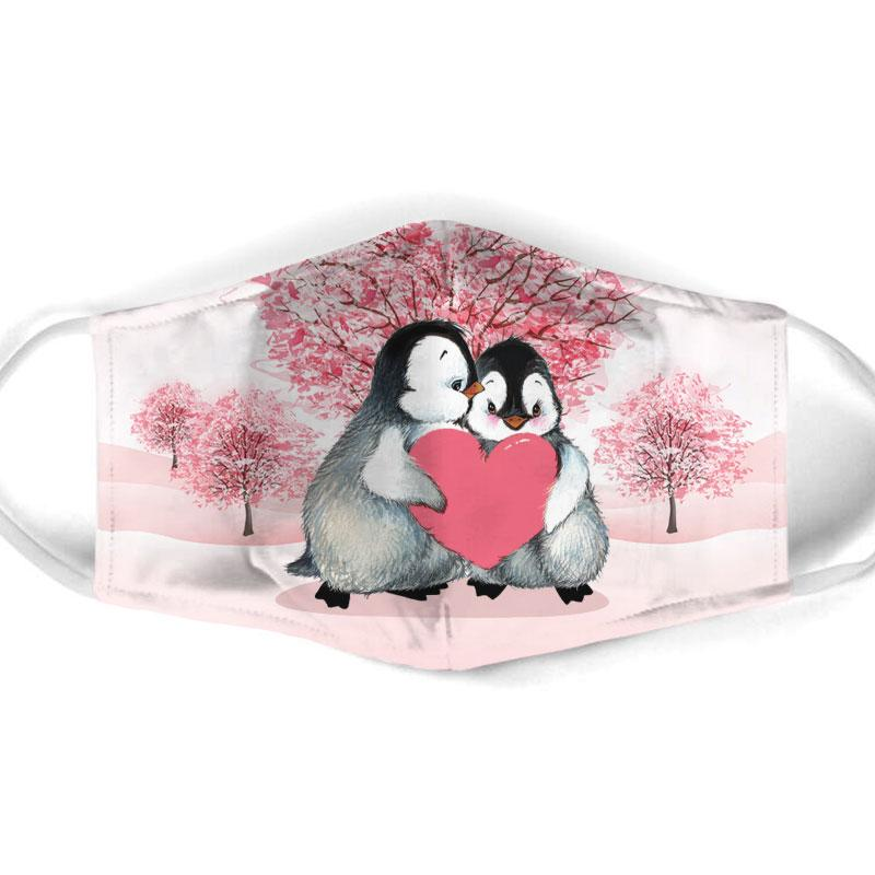 penguin couple love all over print face mask 1