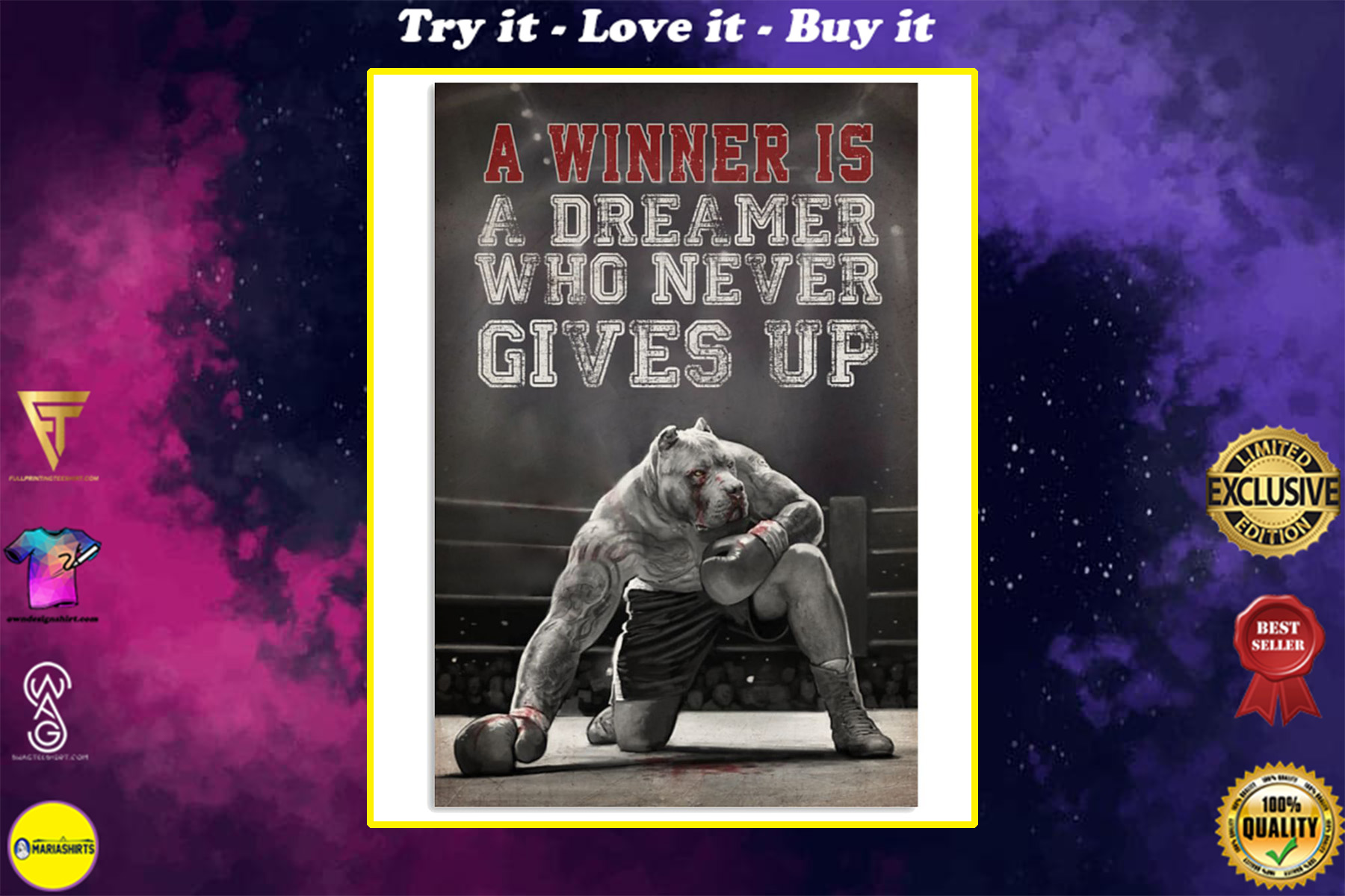 pit bull a winner is a dreamer who never give up boxing poster