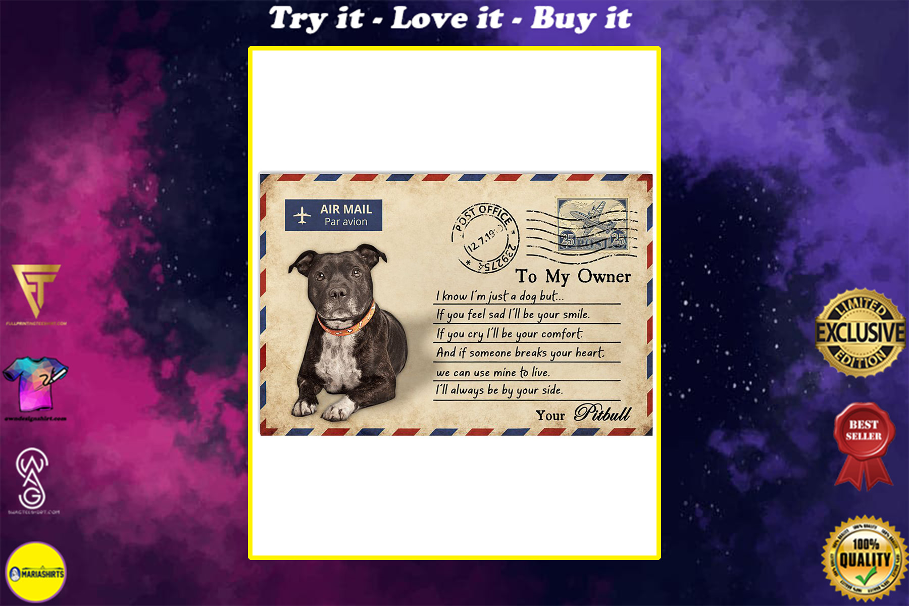 pitbull postcard to my owner ill always by your side poster