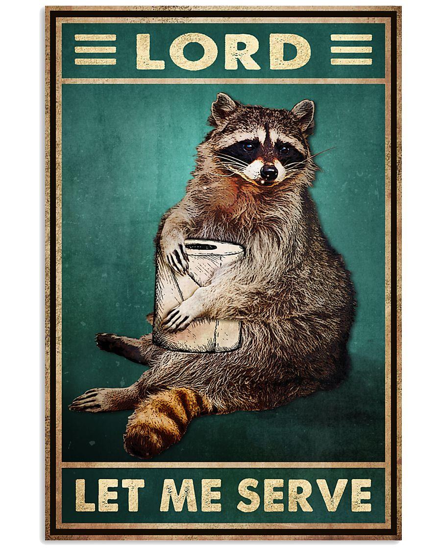 raccoon lord let me serve vintage poster 2