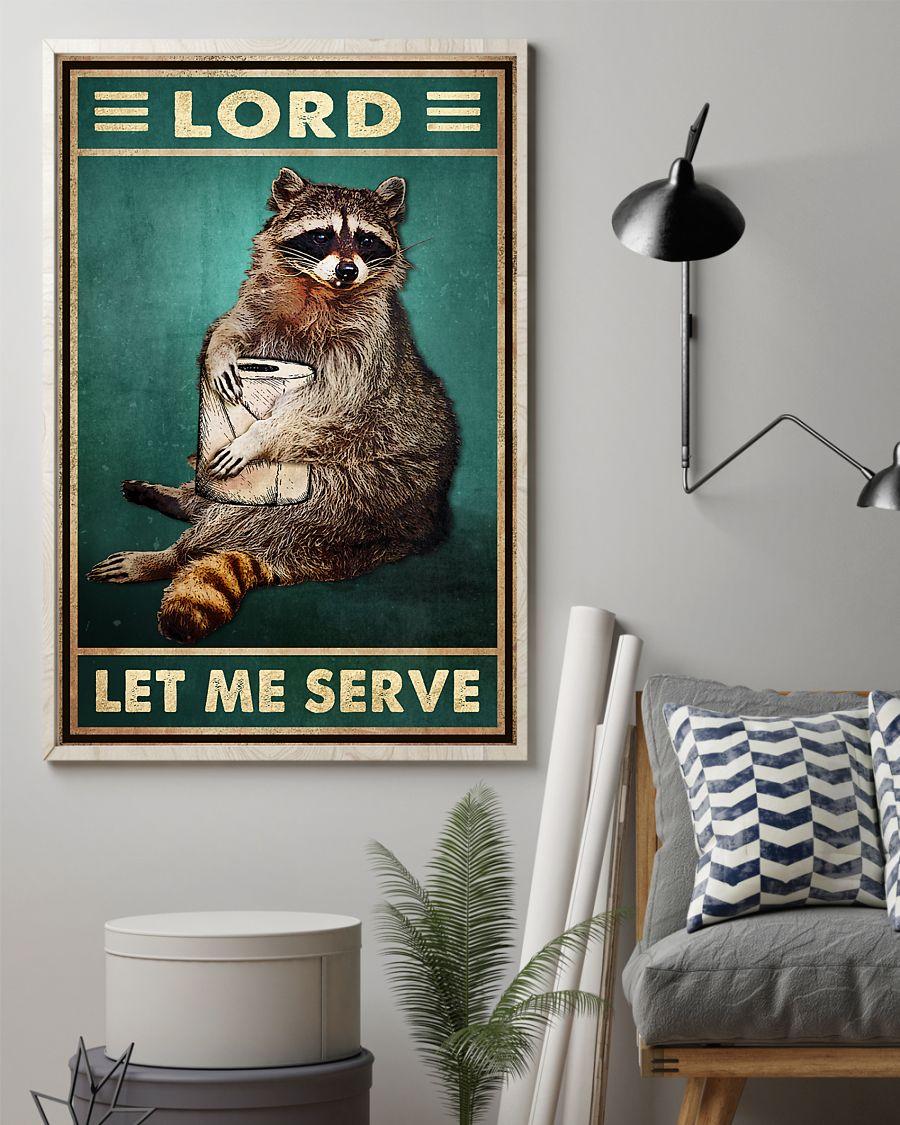 raccoon lord let me serve vintage poster 3