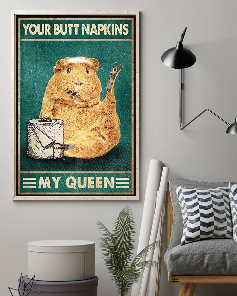 retro guinea pig your butt napkins my queen poster 3