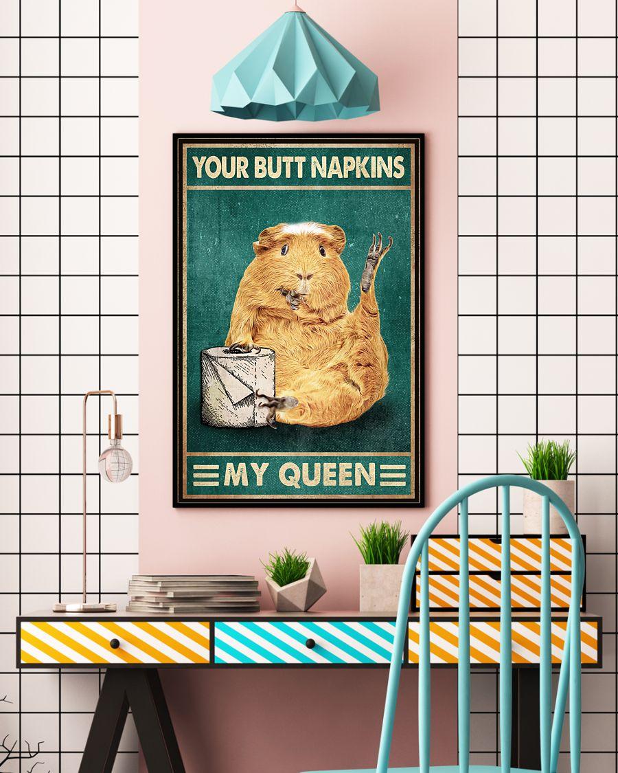 retro guinea pig your butt napkins my queen poster 5
