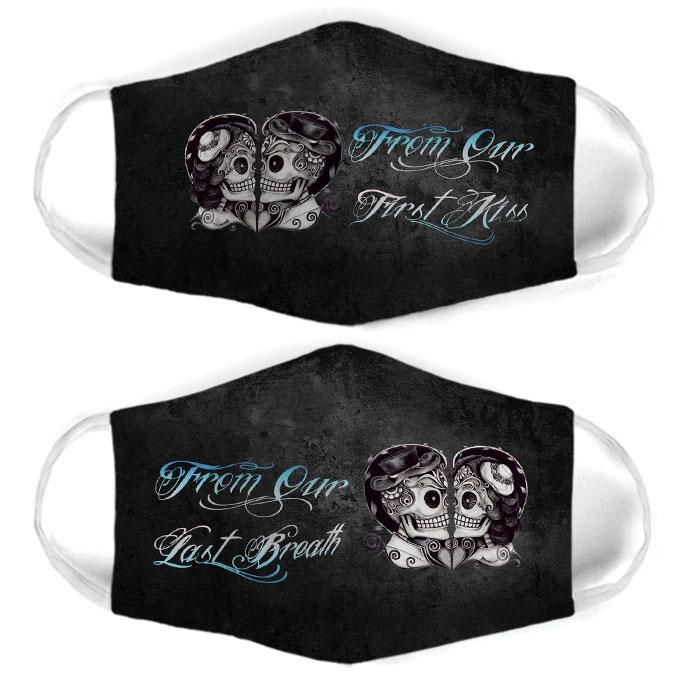 skull couple from our first kiss all over print face mask 1