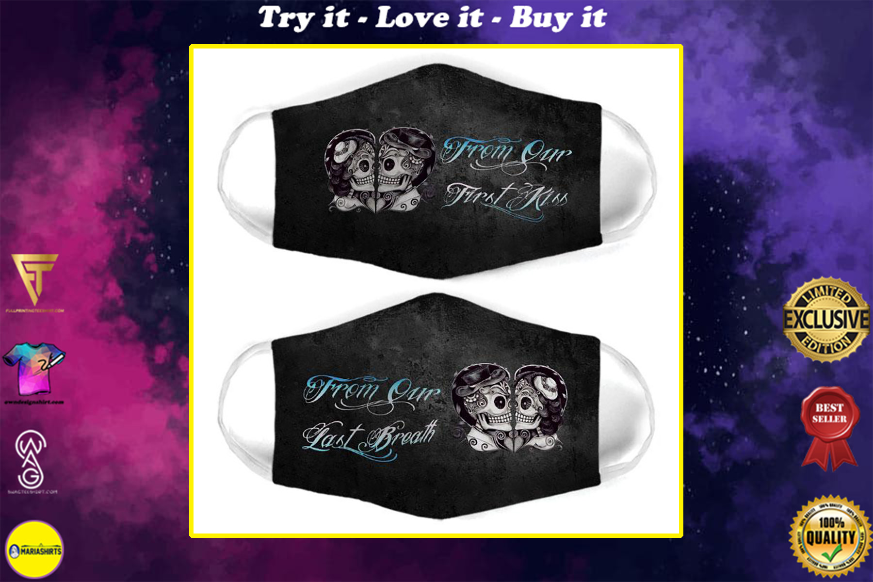 skull couple from our first kiss all over print face mask