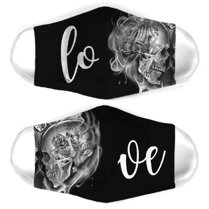 skull couple love all over print face mask 1
