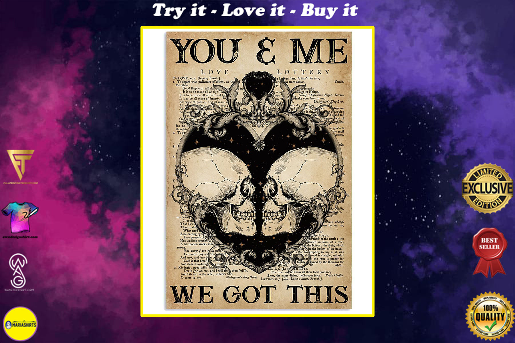 skull you and me we got this vintage poster