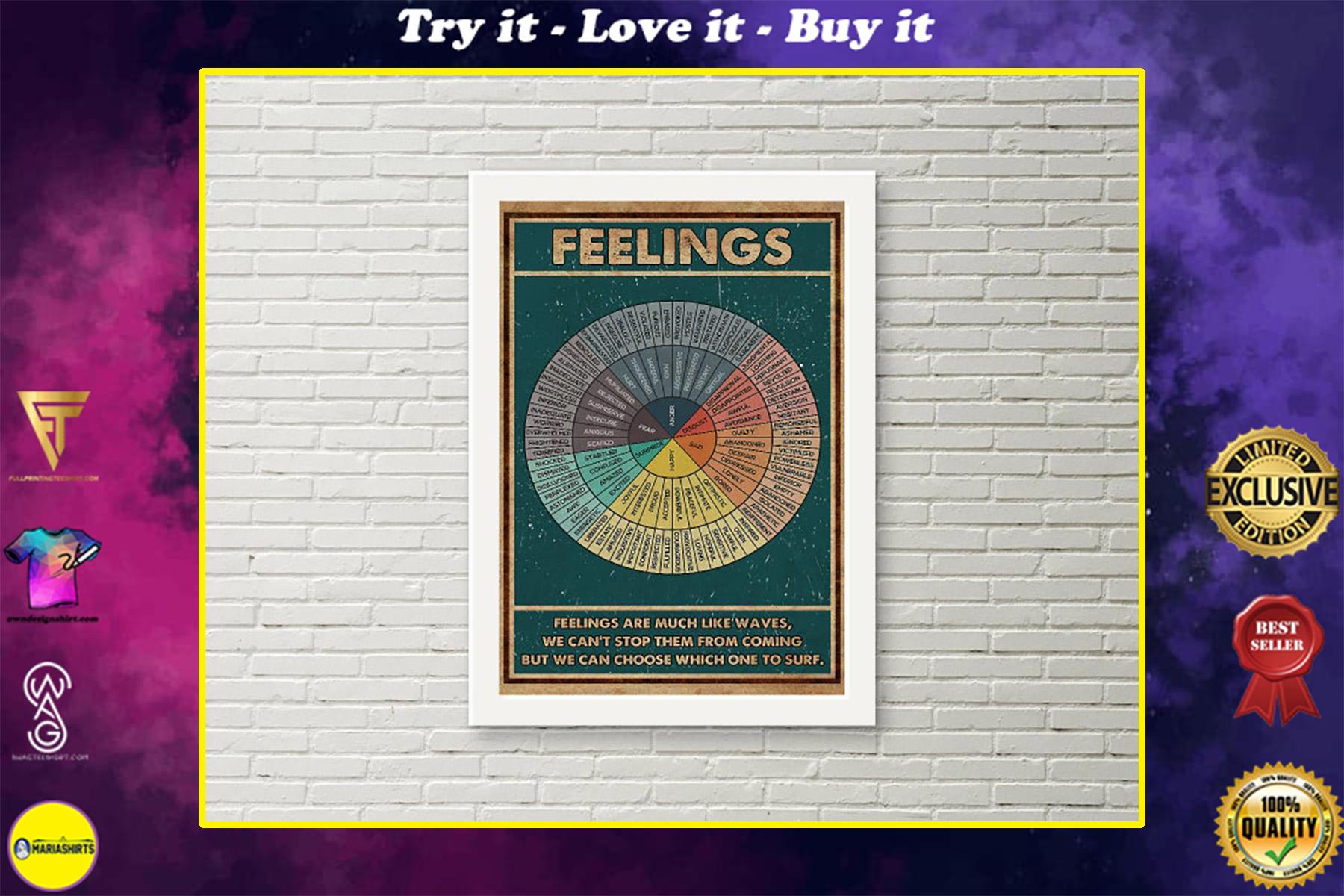 social worker feelings wheel chart poster