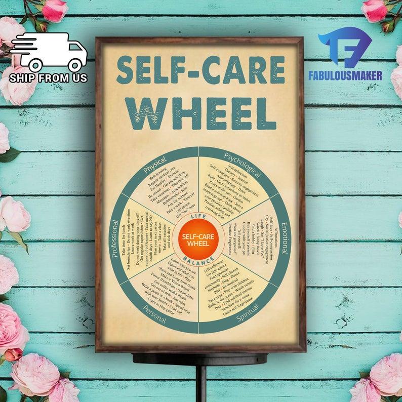 social worker self-care wheel poster 2