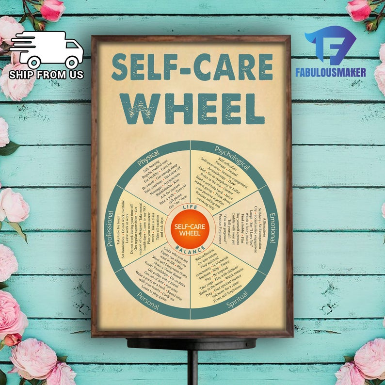 social worker self-care wheel poster 3