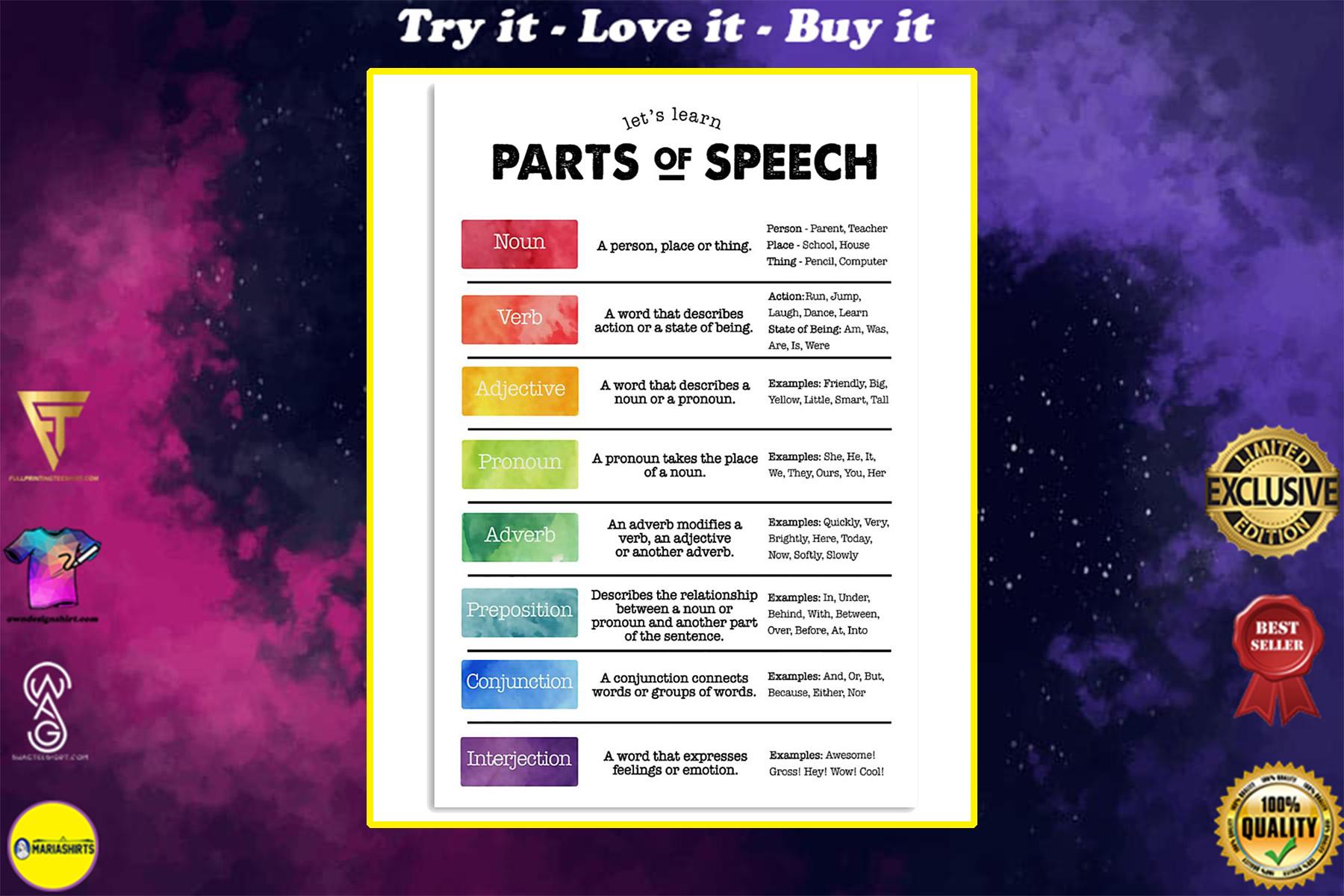 speech language pathologist parts of speech poster