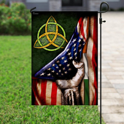 st patricks day celtic trinity american flag all over print flag 5