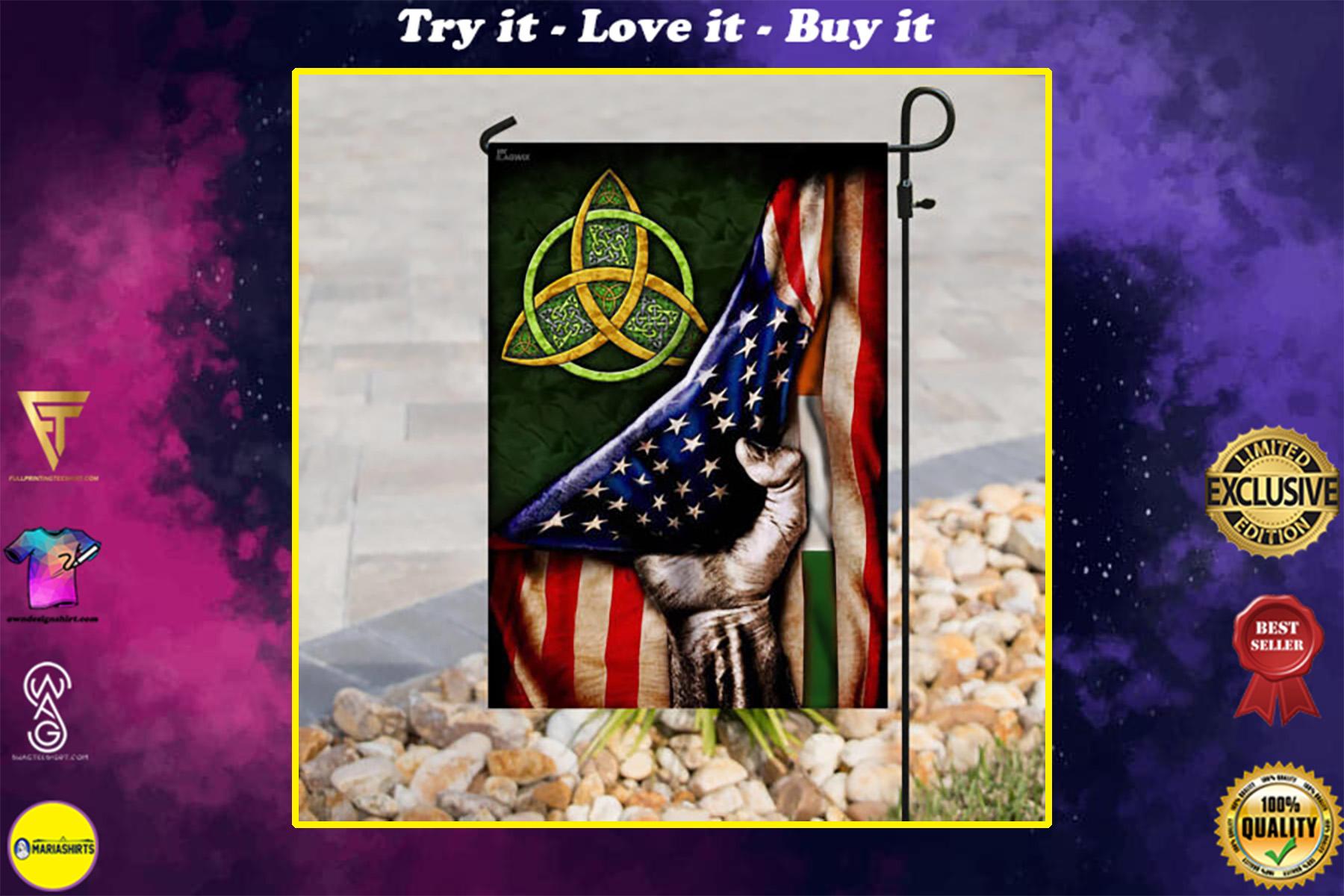 st patricks day celtic trinity american flag all over print flag