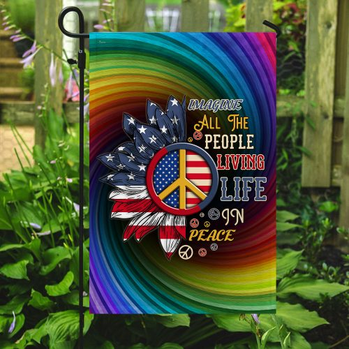 sunflower imagine all the people living life in peace all over print flag 5