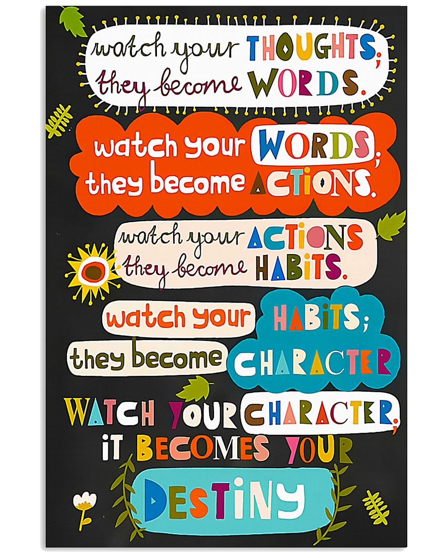 teacher watch your thoughts they become words poster 2