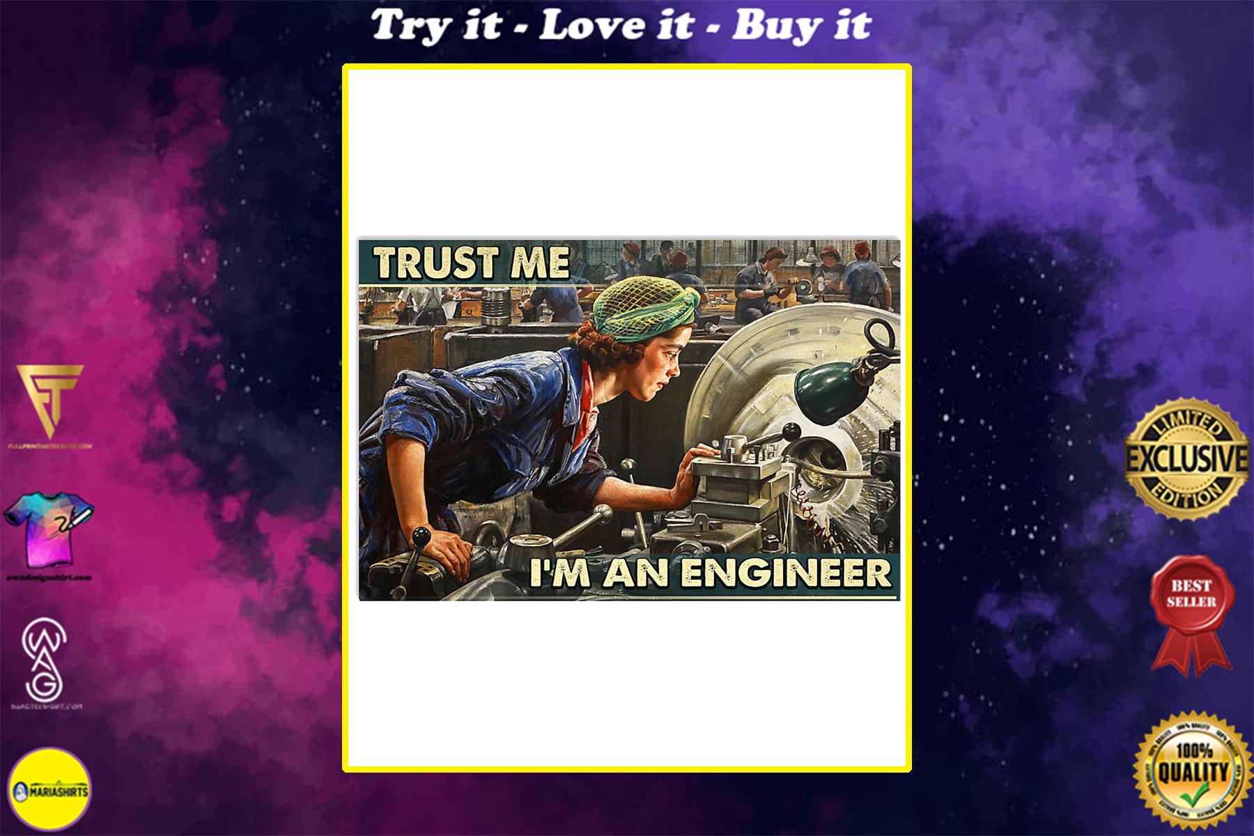 the girl trust me im an engineer wall art poster