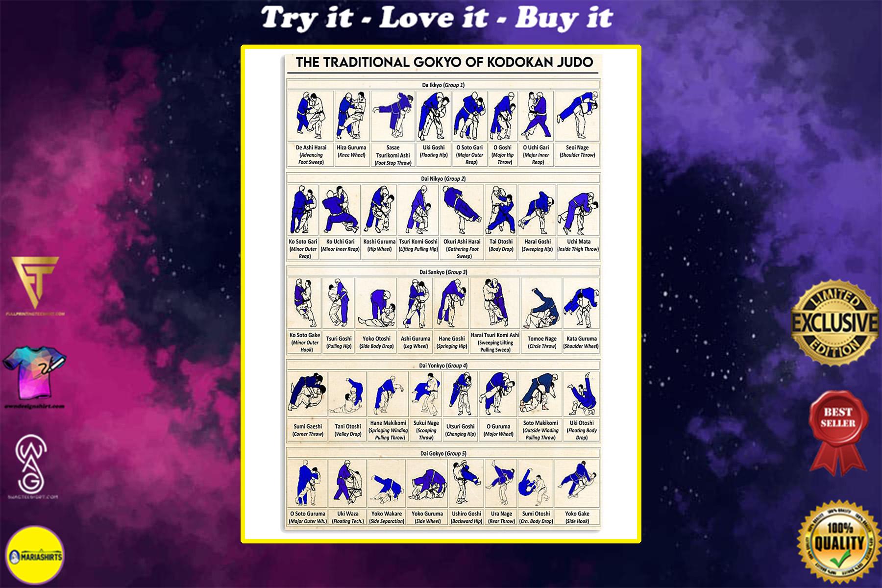 the traditional gokyo of kodokan judo poster