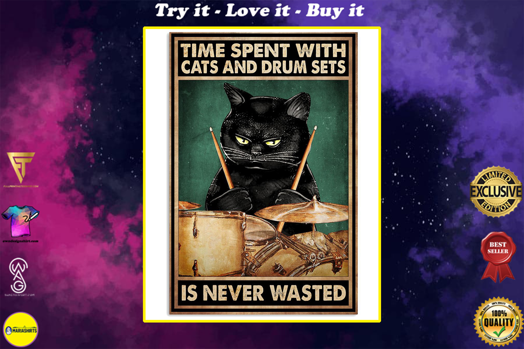 time spent with books and cats is never wasted vintage poster