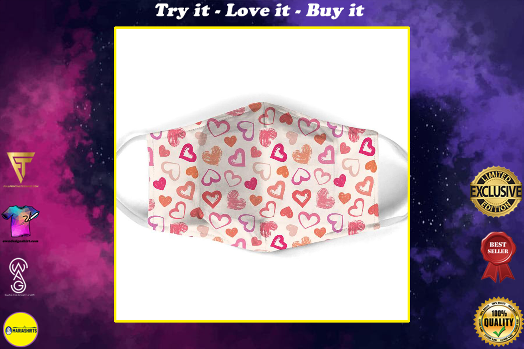 valentine heart seamless all over print face mask