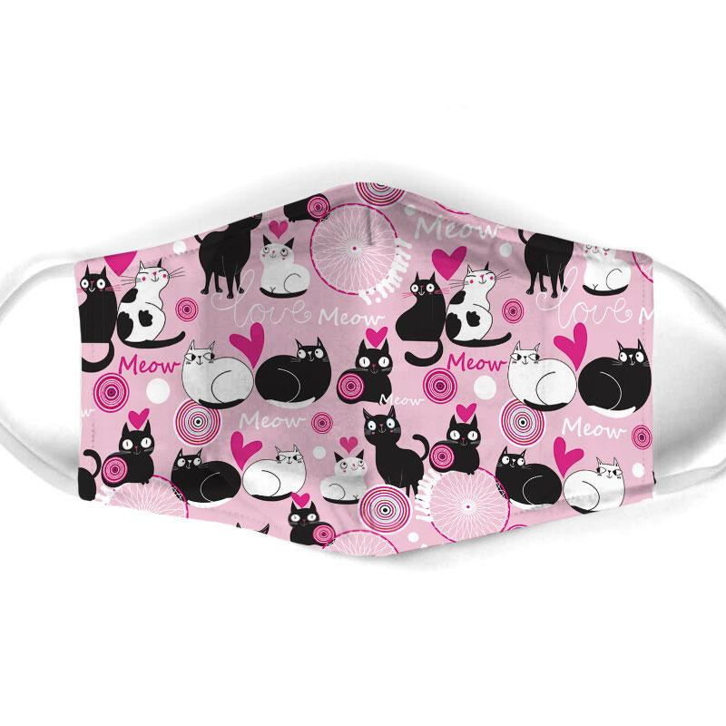 valentine lovely couple cat all over print face mask 1