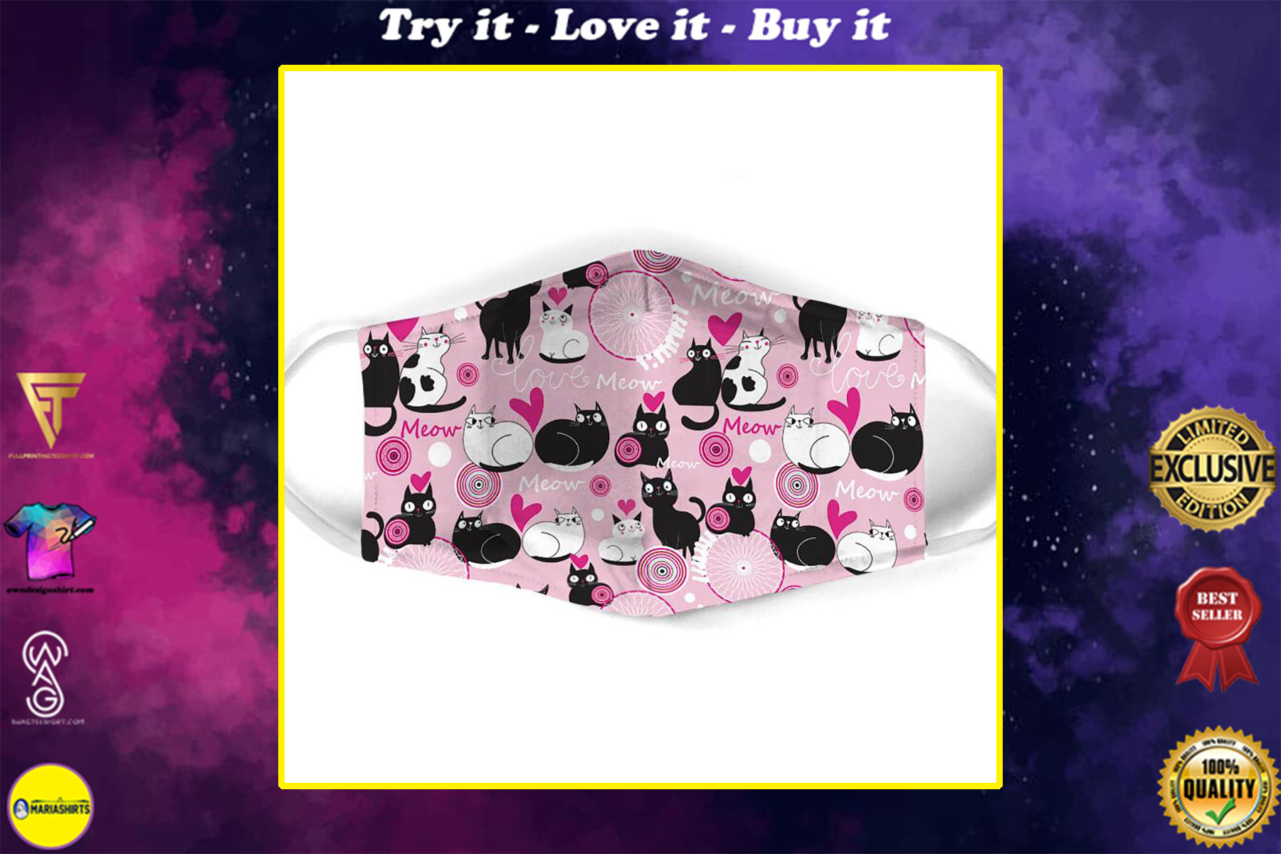 valentine lovely couple cat all over print face mask