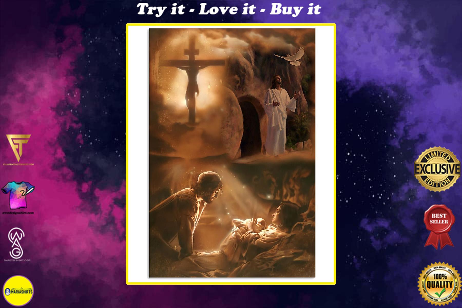 vintage Jesus he loves you poster
