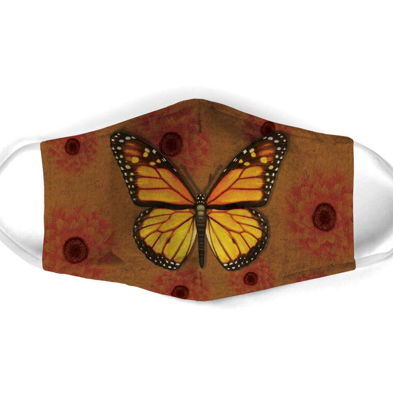 vintage butterfly all over print face mask 1