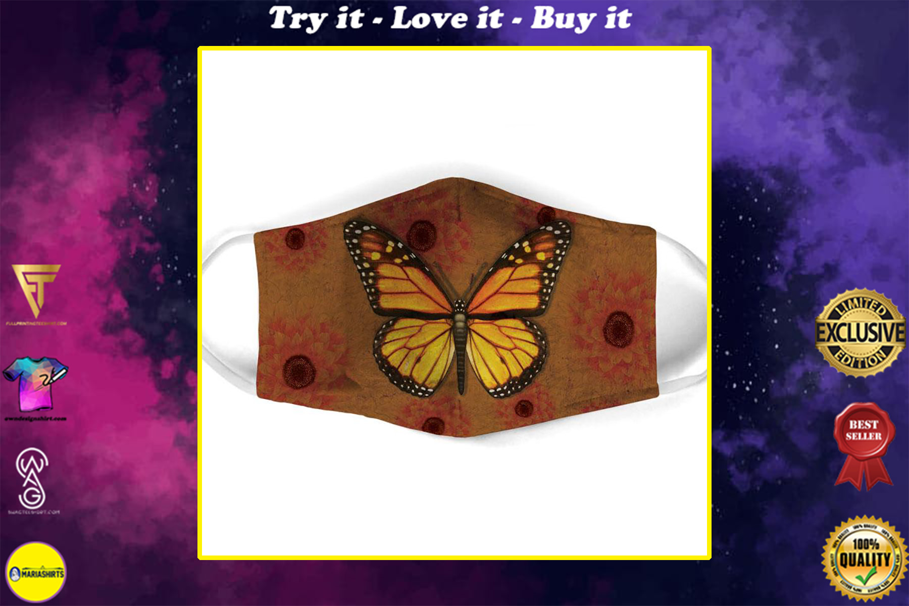 vintage butterfly all over print face mask