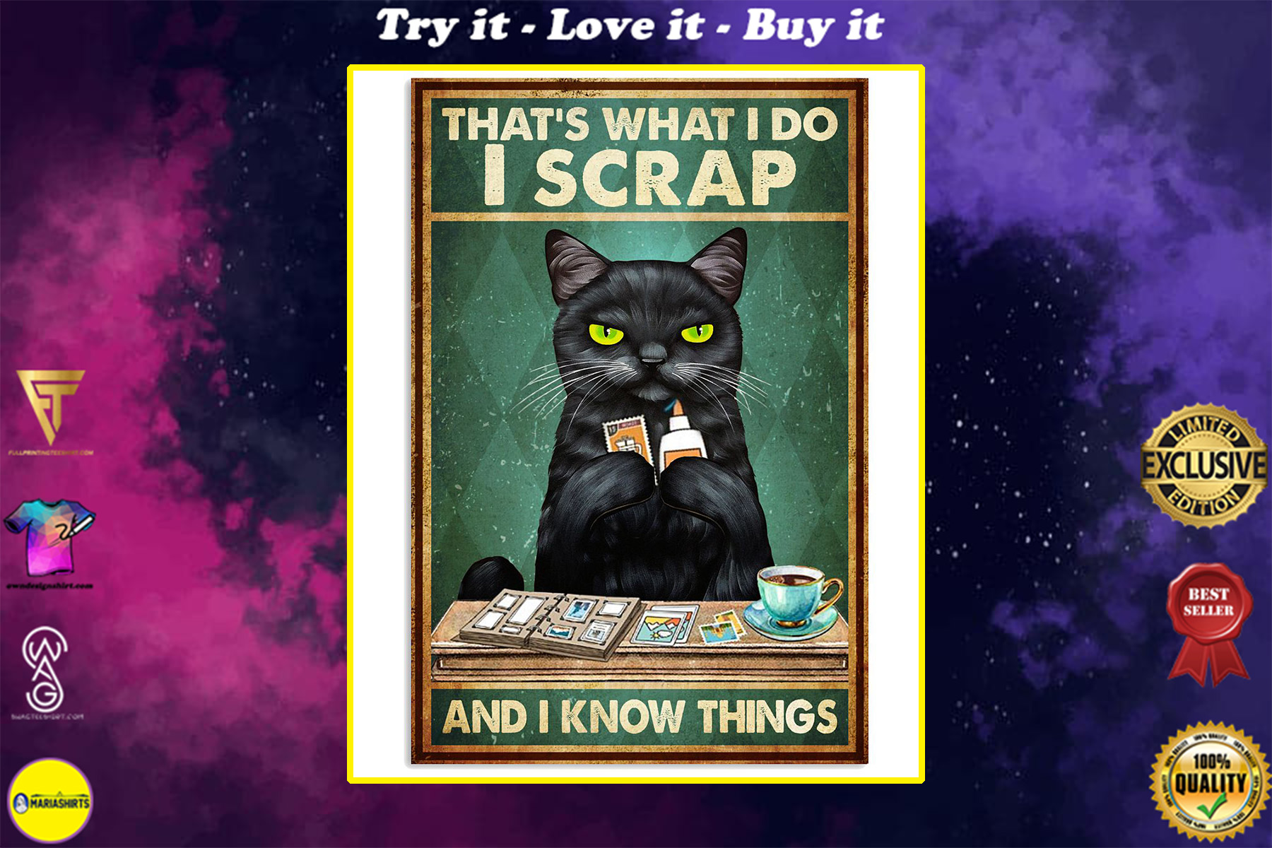 vintage cat thats what i do i scrap and i know things poster