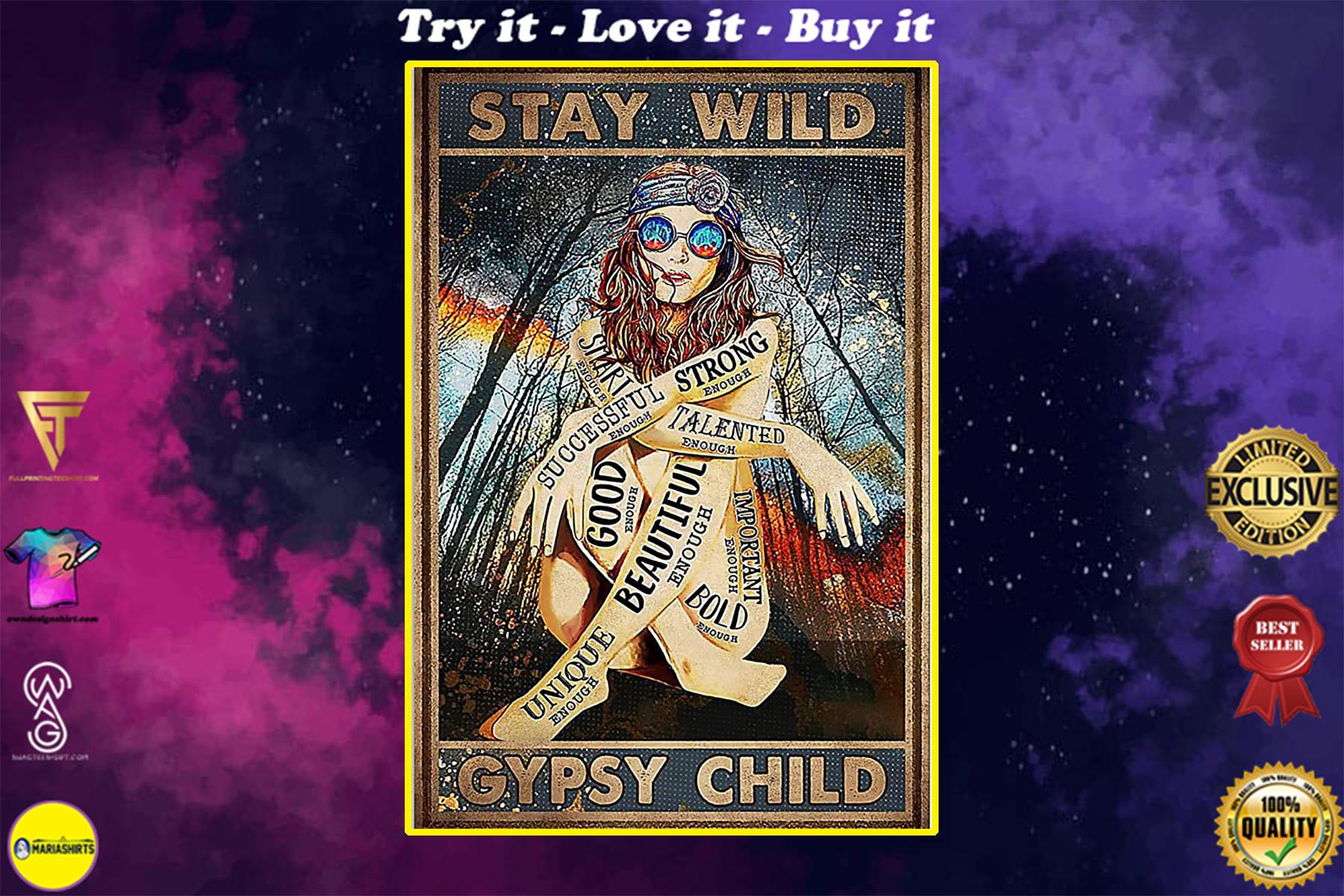vintage girl stay wild gypsy child poster