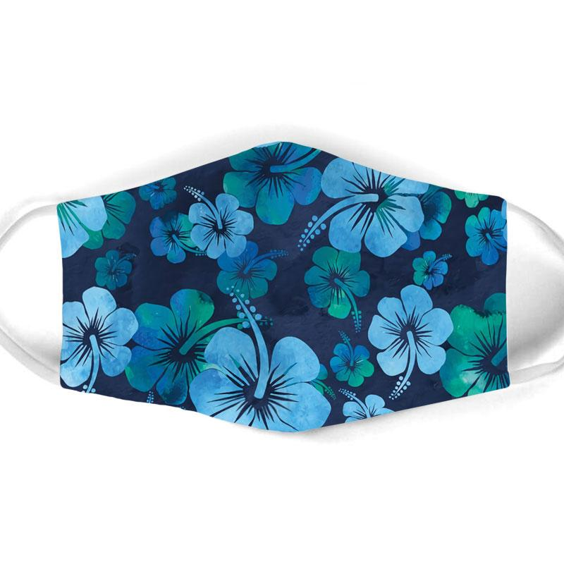 vintage hibiscus flowers all over print face mask 1
