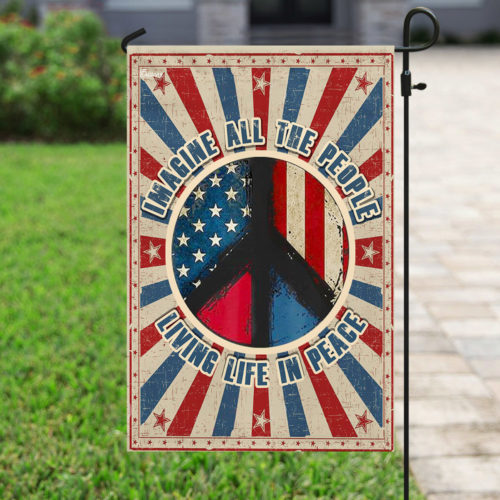 vintage imagine all the people living life in peace all over print flag 4