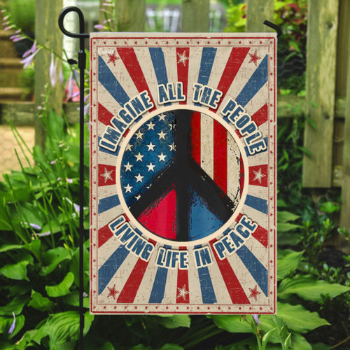 vintage imagine all the people living life in peace all over print flag 5